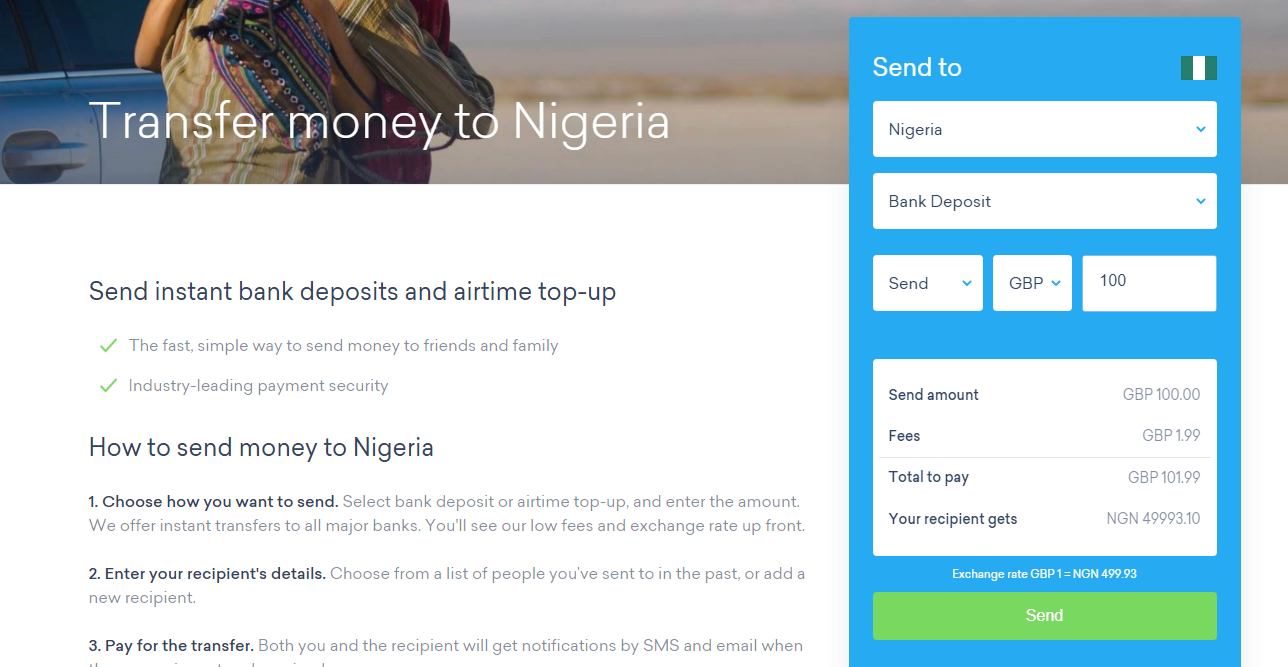 That At Time Of Writing It Cost Just 1 99 To Send 100 Nigeria And This Makes Worldremit The Est Way Money From Abroad